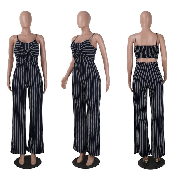 Korean Lady Elegant Tie Bow Strap Off Shoulder Hollow Out Back Elastic Band Stripe Straight Wide Leg Jumpsuits Romper Plus Size