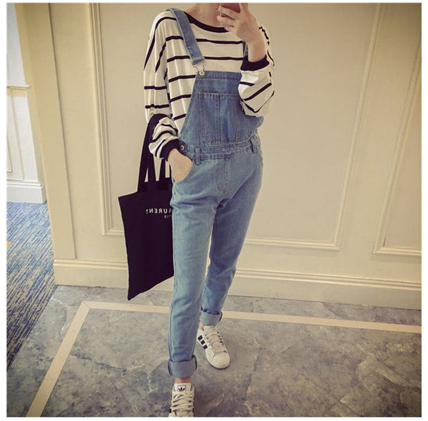 Korean Style Summer Denim Jumpsuits 2018 Fashion Women's Overalls Female Hole Preppy Style Loose Slim Denim Strap Trousers