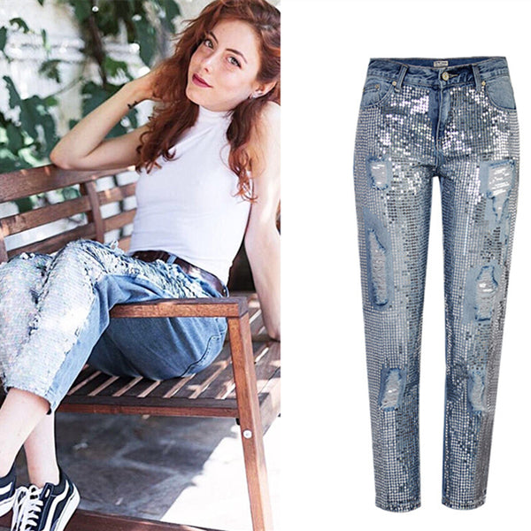Ripped Jeans for Women Vintage Straight Jeans Woman Denim Pants Light Blue
