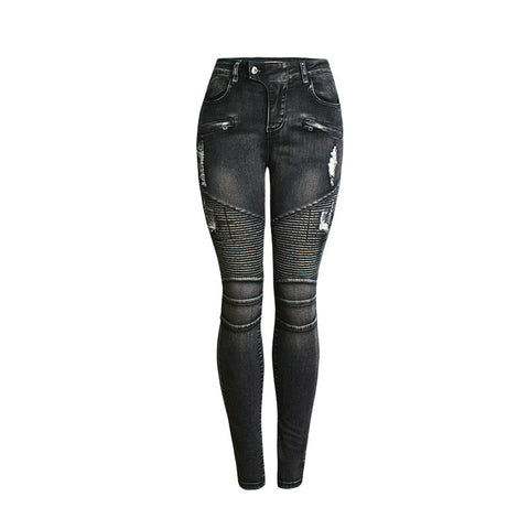 Skinny Jeans Woman 2018 Ripped Moto Biker Pencil Jeans Womens Denim Pants Black