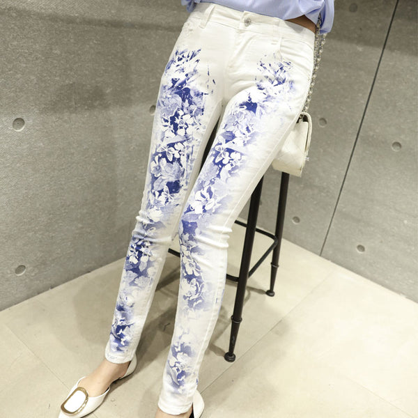White Female Elastic Jeans Europe Printing Slim Denim Trousers Elastic Long Stylish Printed Jeans Plus Size A208