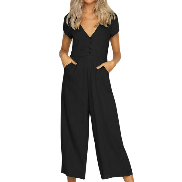 Solid Wide Leg Jumpsuits Women Deep V neck Rompers Short Sleeve 2018 Summer Playsuit Body Woman Casual Overall Femme