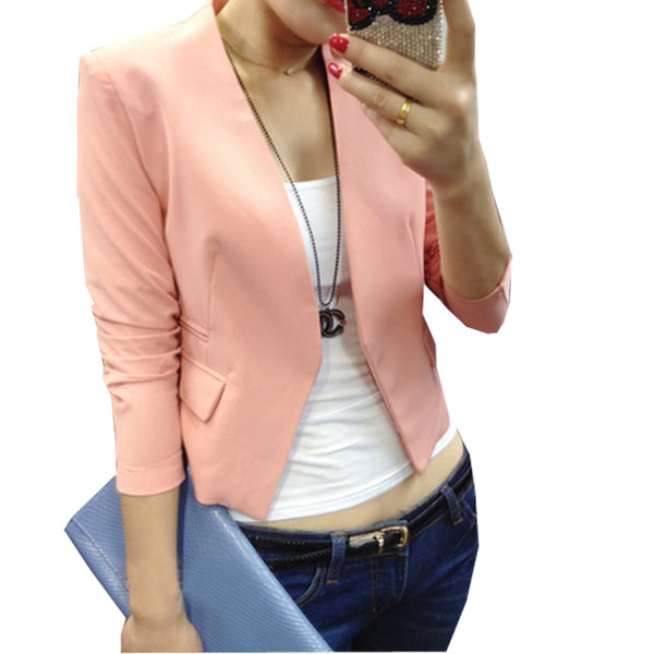 Women Short Blazer Candy Color Puff Sleeve 2018 New Casual None Button Slim Blazer Feminino Suit Coat Plus Size Blazer