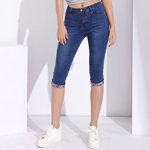 Ladies Summer Trousers Skinny Capris Jeans Woman With High Waist Plus Size Stretch Jeggings Jeans For Women Denim Knee Length