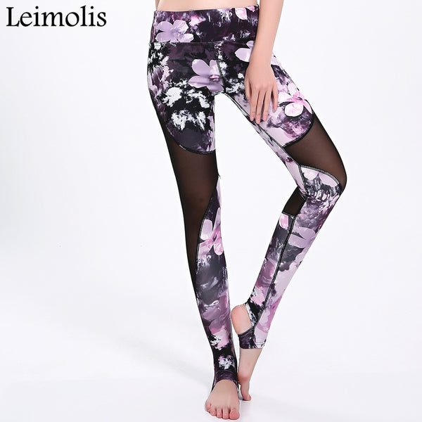 Cherry blossoms freestyle mesh Harajuku High Waist workout push up plus size stirrup fitness leggings women pants