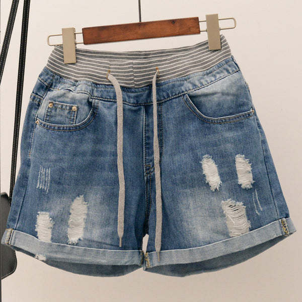 Ripped Jeans Shorts Women Large Size Torn Jean Denim Shorts Big Size Woman Summer Clothes Plus Size Street Shorts 5XL 4XL