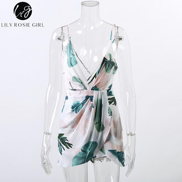 98dcb6098b Lily Rosie Girl Deep V Neck Ruffles White Floral Print Mini Dress Summer  Beach Sexy Backless Boho Short Strap Dresses Vestidos