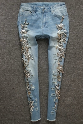 Luxury Diamond Jeans Beaded Slim Pants Women's Blue Pencil Denim Vintage Causal Pant