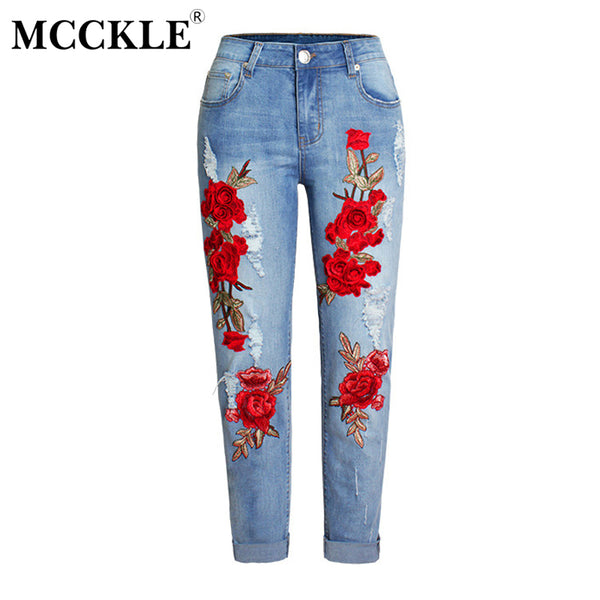 Women Floral Embroidery High Waist Straight Jeans Boyfriend Ripped Holes Denim Pants Female Stretch Loose Plus Size Jeans