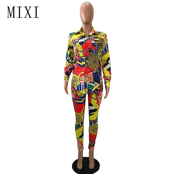 MIXI Winter Vintage Printed Women Jumpsuits Long Sleeve Elegant Ladies Office Party Casual Bodycon Jumpsuit 2 Piece Set Overalls