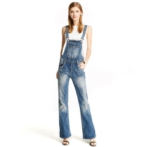 New Womens Denim Bib Overalls Bell Bottom Fashion Jeans Jumpsuits For Female Boot Cut Scratched Suspender Pants