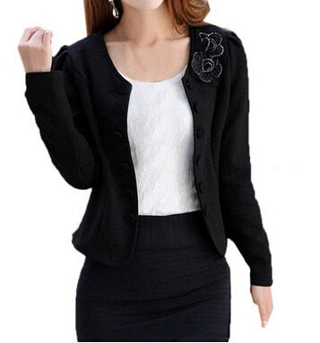 MYPF Women's Fashion Slim Jacket Suit Blazer Long Sleeve Short Coat Outerwear