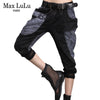 Fashion Brand Sexy Club Girls Lace Harem Pants Women Patchwork Black Mom Jeans Boyfriend Woman Denim Trousers Plus Size