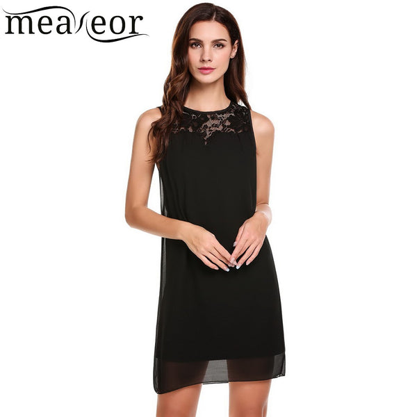 25955ed07ea7 Women Casual O-Neck Sleeveless Floral Lace Patchwork Button Loose Dress  2018 Summer New Ladies