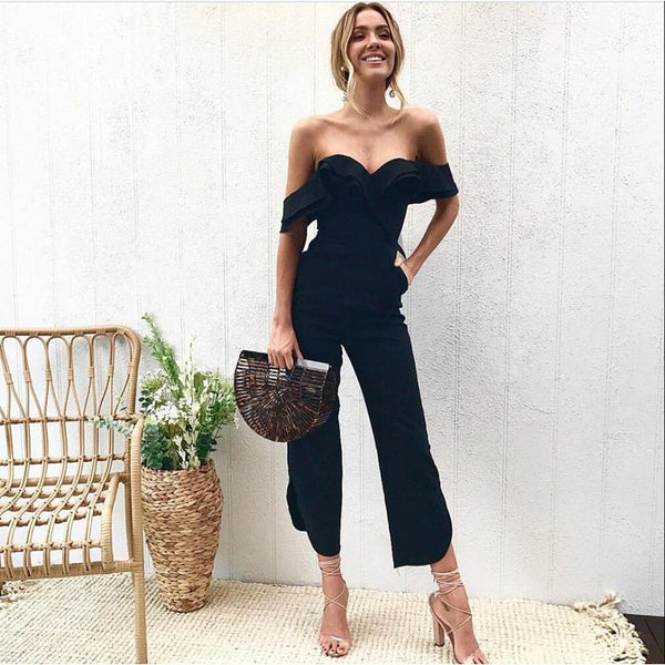Sexy Off Shoulder Split Wide Leg Rompers For Women Slim Waist Party Overalls 2020 New Ruffles Strap White Black Jumpsuit