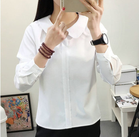 Mori Girls Autumn Long Sleeve Peter Pan Collar White Chiffon Blouse Casual Office Lady Shirt Solid Japanese Scho Uniform