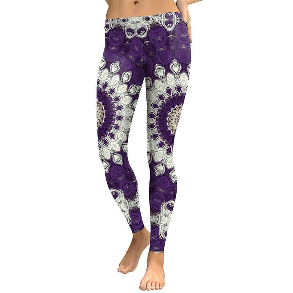 New Arrival 2018 Leggings Women Purple Mandala Flower Digital Print Plus Size Leggins Slim Elastic Workout Pant Legging
