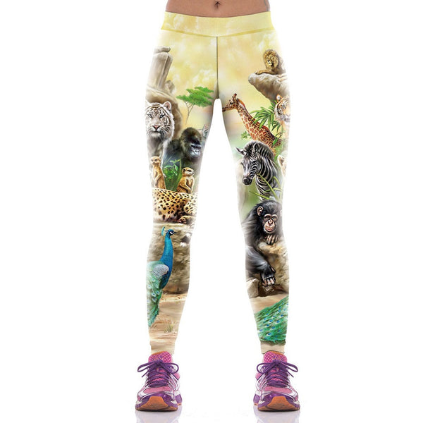 New Arrival Animal World Printed Woman Leggings Sporting Trouser Compression Pantalones Mujer Fitness Leggins Pants