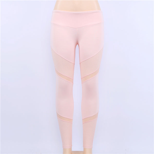 2018 New Fashion Women Pink Leggings Bodycon Mesh Patchwork Elastic Workout Slim Fit GYMs Yoging Sporting Leggins