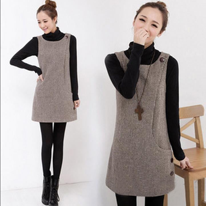 Spring Autumn Winter Women Woolen Knitted Sweater Plus Size Sweet Jumper  Lady Casual Sweater Dress Sleeveless Waistcoat