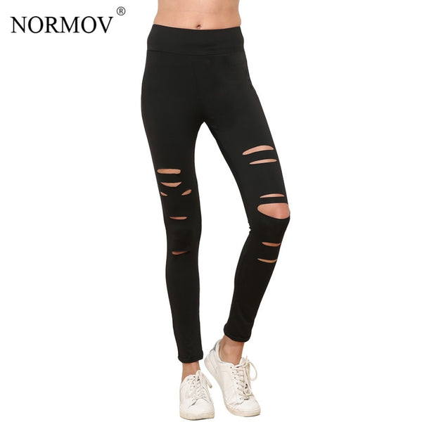 S-XL Women Push Up Ripped Leggings Workout Black Leggins Workout Hollow Out Breathable Slim Leggings Women