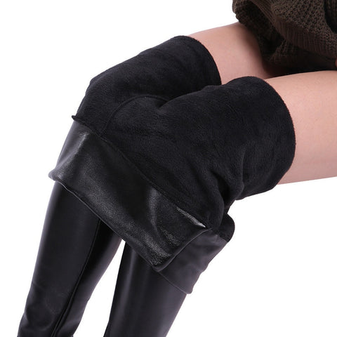 XS-5XL Winter Plus Size Leather Leggings Women Pants High Waist Warm Leggings Thick Velvet Women Leggins Push Up Legging