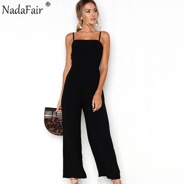 Sleeveless Backless Women Summer Jumpsuit Wide Leg Pants Casual Loose Rompers Sexy Party Club Strap Jumpsuit