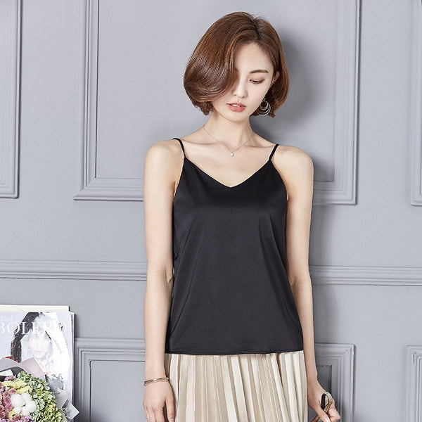New 2018 Sexy Tank Top Women Silk Camis Fashion V-Neck Sleeveless Shirt Solid Color Women Camisole Backless Summer Female Tops