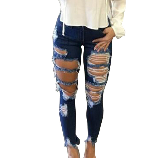 New 2020 Skinny Jeans Women Denim Pants Holes Destroyed Knee Pencil Pants Casual Trousers Jeans Stretch Ripped Jeans