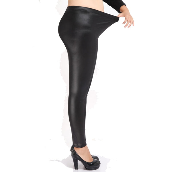 New 2018 Women High Elastic Thin Faux Leather Leggings Large Size S-5XL Imitation Leather Pants Skinny Shiny Black Plus Leggings