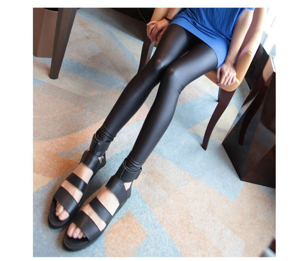 New 2018 women legging faux leather high quality slim leggings lager Size High elastic sexy pants leggins Lady Stretch Pants