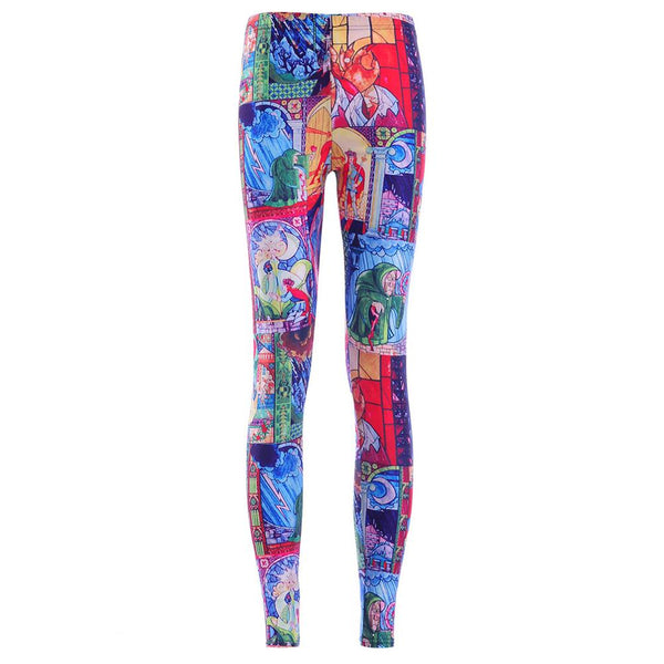New 3887 Sexy Girl Cartoon Beauty and the Beast Rose Prints Elastic Slim Fitness Workout Women Leggings Trousers Pants Plus Size
