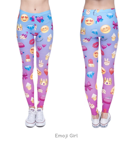 New 3D print Women Leggings Emoji Legins Girls Elastic Jeggings Shiny Novelty Sexy Leggins Tayt Fitness Legging Calzas Mujer