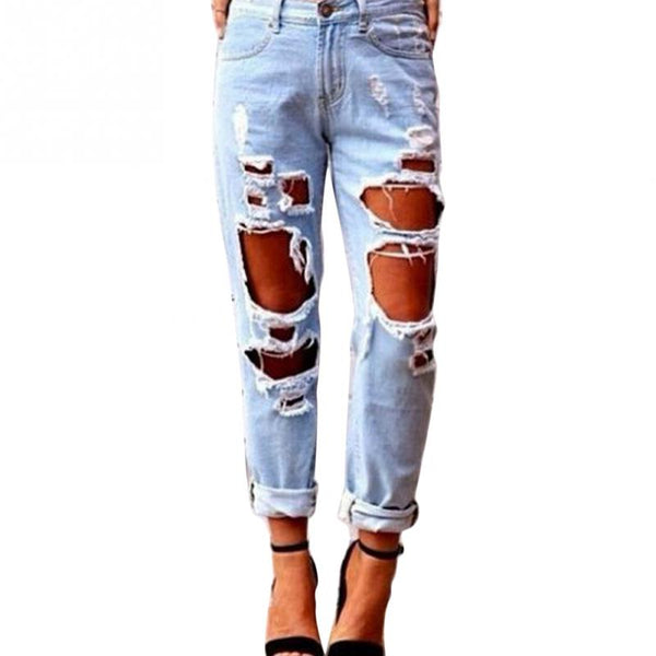 New Arrival Sexy Women Ripped Distressed Jeans Unique Street style Destroyed Ripped Denim Jeans Skinny Slim Trousers Pants