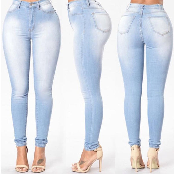 New Fashion Women Denim Skinny Jeggings High Waist Stretch Jeans Slim Pencil Trousers Plus Size