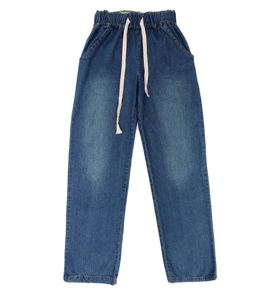New Plus size comfortable Washed blue loose wide leg denim pants women's jeans elastic waist cowboy full long trousers pants