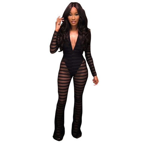 New Sexy Striped Sheer Mesh Jumpsuit with Lining Women Long Sleeves Deep V- Neck Wide Leg Romper Clubwear Party Overalls Leotard
