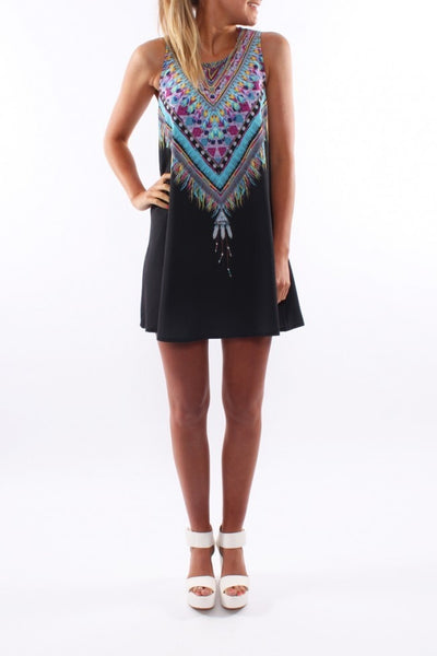 New Sexy Summer Beach Dress Women Tank Sleeveless Vintage Print Desigual Africa Dashiki Dress Casual Loose Mini Dress **