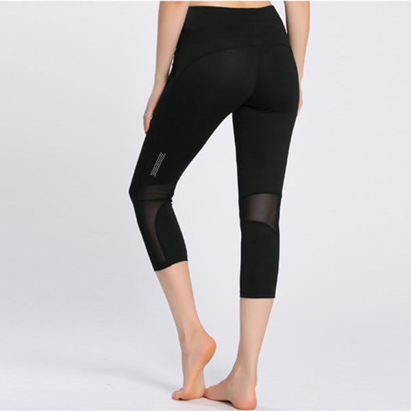 New Sporting Workout Leggings Women Sexy Mesh Splicing Reflective Night Runs Fitness Legging Breathable Elastic Slim Capri Pants