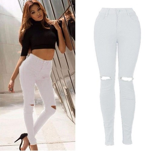 New Summer Women Skinny Pants Casual Solid Basic Denim Hole Jeans High Waist Jeans Black White Pencil Jeans Trouser Plus Size