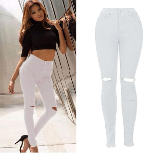 New White Hole Ripped Jeans Women Cool Denim High Waist Elastic Pants Capris Female Skinny black Casual Pencil Jeans 833795