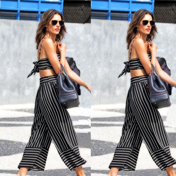 New Women Ladies Nine Length Stretchy Stripe Pants New Hot Casual Fashion Jumpsuits Playsuits Bodysuits