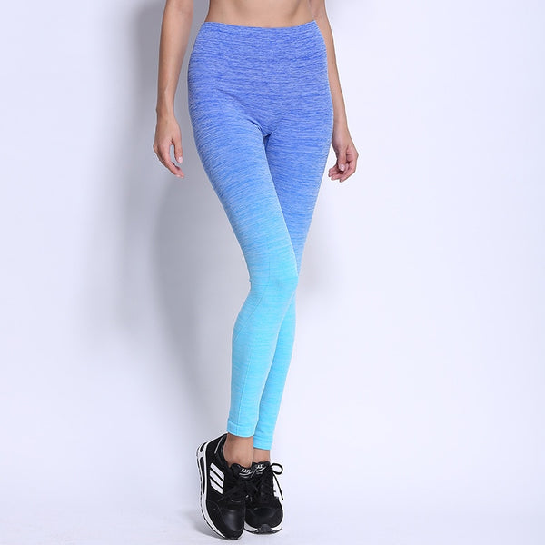 New Women's High Waist Ombre Color Push Up Leggings Soft Breathable Elastic Fitness Pants Bodybuilding Workout Trousers