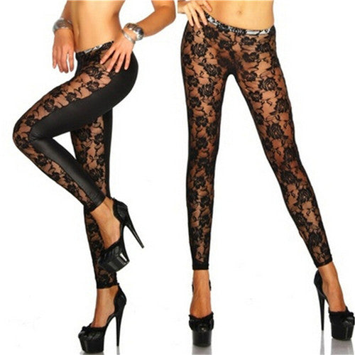 New hot Lace Leggings Skinny Stretch Pants for Autumn Winter Rose Lace PU Leather Leggings