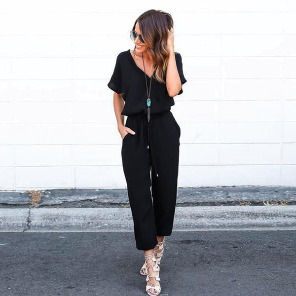 OL Ladies Playsuit Trousers Women Summer Sexy Jumpsuit Elegant Women's V-Neck Casual Chiffon Jumpsuits Romper Overall #YL