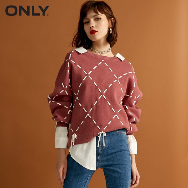 ONLY 2019 womens' winter new loose rope lace knit sweater Trendy diamond lattice Tie-up design|118324560