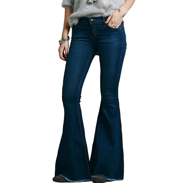 Spring Mid Waist Flare Jeans Pants Stretch Skinny Jeans Women Wide Leg Slim Hip Denim Boot Cut Trousers KWA0506-5