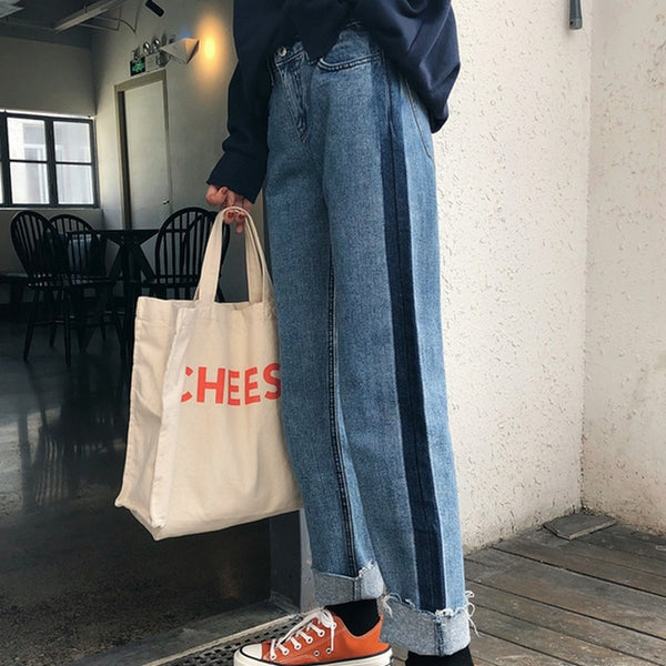 Panelled Jeans For Women Tassel High Waist Jeans Woman Cuffs Straight Denim Pants Vintage Loose Trousers Warm Women Jean