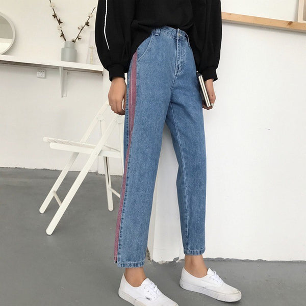 Personality Side Skinny Boyfriend Jeans For Women 2020 Fashion Spring High Waist Pantalon Femme Slim Loose Denim Pants