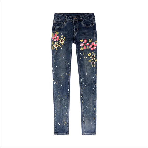 Paint points style Stretch floral print Jeans For Women Elastic Flower Jeans Female Denim Pencil Pants Pantalon Femme WICCON